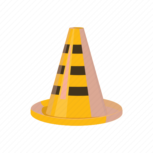 attention, cartoon, cone, danger, safety, stop, traffic icon
