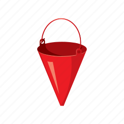 bucket, cartoon, equipment, extinguish, fire, protection, safety icon