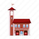 building, cartoon, door, fire, rescue, service, station icon