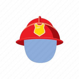 cartoon, fire, firefighter, fireman, helmet, mask, protection icon