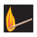 burn, cartoon, fire, flame, heat, hot, match icon