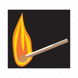 burn, cartoon, fire, flame, heat, hot, match icon