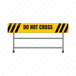 barrier, cartoon, road, safety, street, traffic, yellow icon