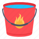 bucket, fire, firefighter, water icon