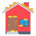 burn, fire, home, house icon