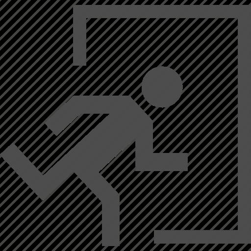 door, escape, exit, fire, man icon