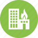 building, burning, damage, fire, flame, heat, smoke