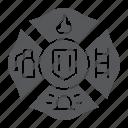 badge, emblem, fire, firefighter, sign