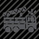 emergency, engine, fire, firefighter, transport, truck, vehicle