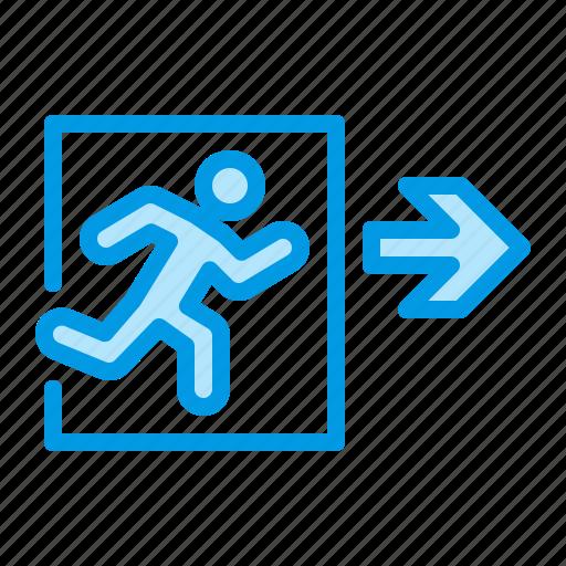 emergency, escape, evacuate, exit, fire icon