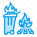 burning, fire, garbage icon