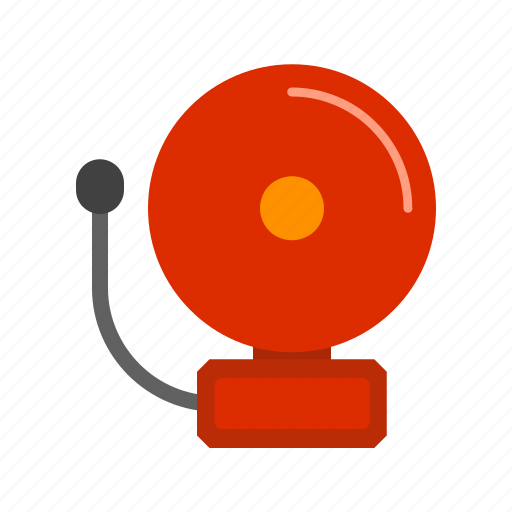 alarm, bell, fire, firefighter, red, safety, security icon