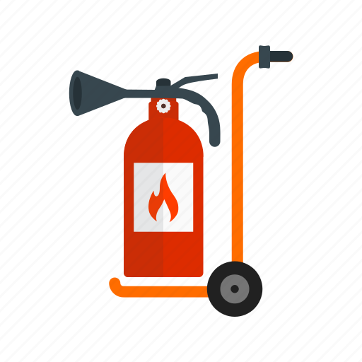 danger, equipment, extinguisher, firefighter, moveable, red, safety icon