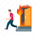 run, emergency, fire, outdoors, running, exit, evacuation