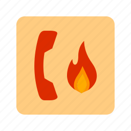 call, fire, firefighter, message, mobile, ring, safety icon