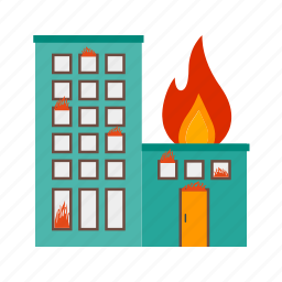 building, burning, damage, fire, flame, heat, smoke icon