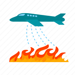 drop, fire, firefighters, plane, rescue, sky, water icon