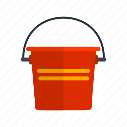 bucket, danger, emergency, fire, firefighter, red, water icon