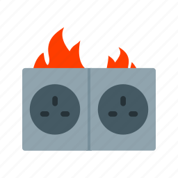 burnt, circuit, electric, fire, house, short, socket icon