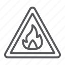 attention, flammable, risk, security, sign, warning icon