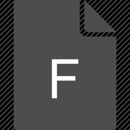alphabet, doc, document, f, file icon