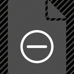 cut, doc, document, erase, file, minus icon