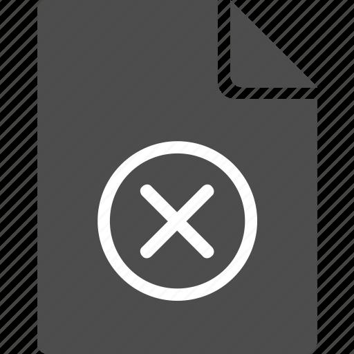 ban, cancel, del, delete, doc, document, file icon