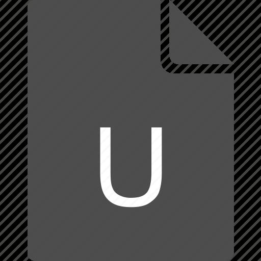doc, document, file, letter, u icon