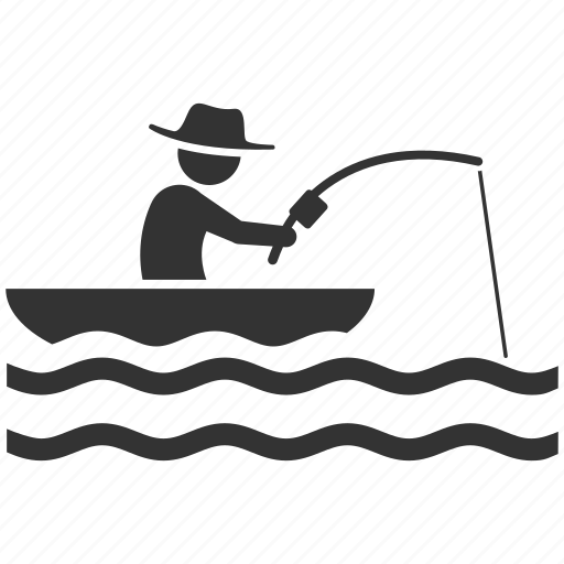 boating, fish hunter, fisherman, fishery, fishing, hobby, vacation icon