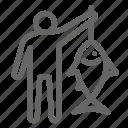 angler, fish, fisherman, fishing, man icon