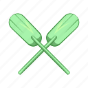 cartoon, illustration, oar, paddles, sign, sport, water icon