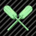 cartoon, illustration, oar, paddles, sign, sport, water