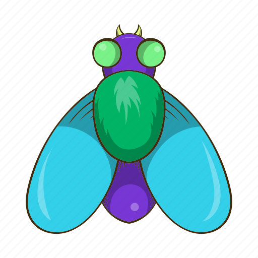 cartoon, fly, hum, insect, sign, style, wildlife icon