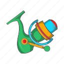 cartoon, catch, equipment, fishing, reel, rod, sign