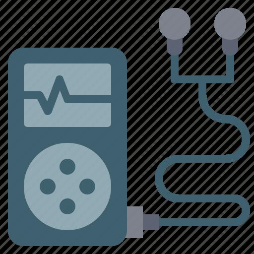 auriculars, digital, fitness, ipod, machine, music, tool icon