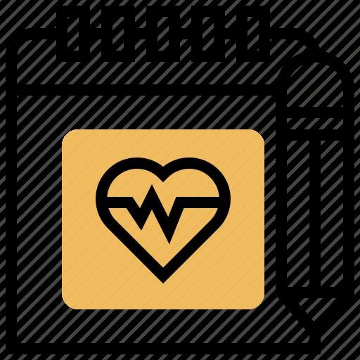 calendar, health, pencil, plan, schedule icon