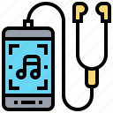 entertainment, listening, music, smartphone, sport icon