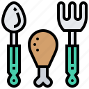chicken, fork, meal, protein, spoon icon