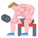 dumbbell, exercise, man, wellness, workout icon