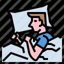 blanket, male, pillow, sleeping icon