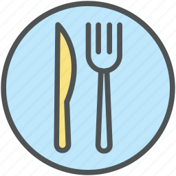 cutlery set, dining, fork, knife, plate, silverware, tableware icon