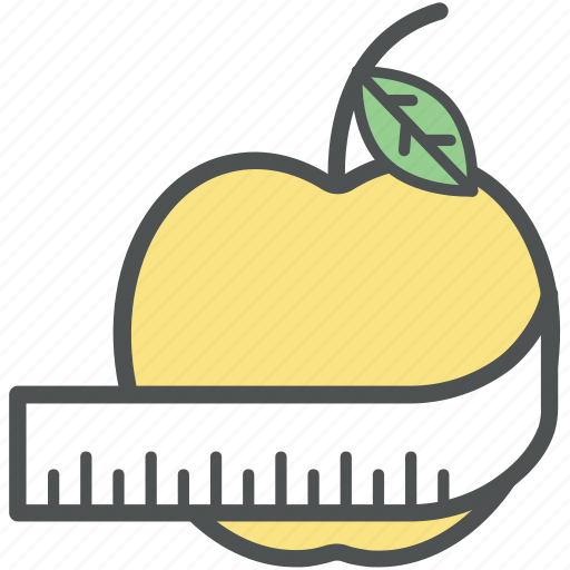 apple, dieting, healthy diet, healthy eating, measuring tape, slimming, weight loss icon
