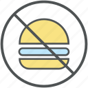 burger prohibiting, forbidden, no burger, no fast food, no junk food, stop fast food, unhealthy food icon