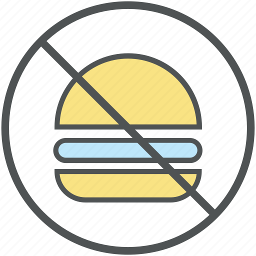 burger prohibiting, forbidden, no burger, no fast food, no junk food, stop fast food, unhealthy food icon