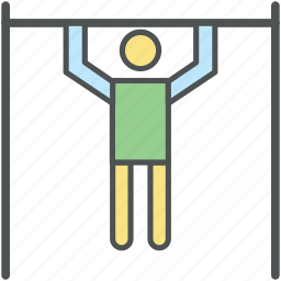 bodybuilding, chin up exercise, exercise, fitness, man doing pull-ups, pull up, workout bar icon