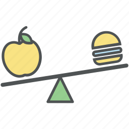 apple, burger, diet comparison, dietary decision, fitness, healthy eating, meal, nutrition balance icon