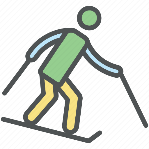 athlete, skating, ski, skier, skiing, skiing race, sliding icon