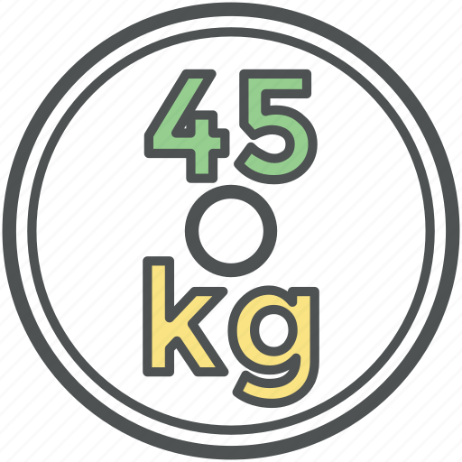 forty five kg, kilogram, mass, weight, weight tool, weightlifting icon