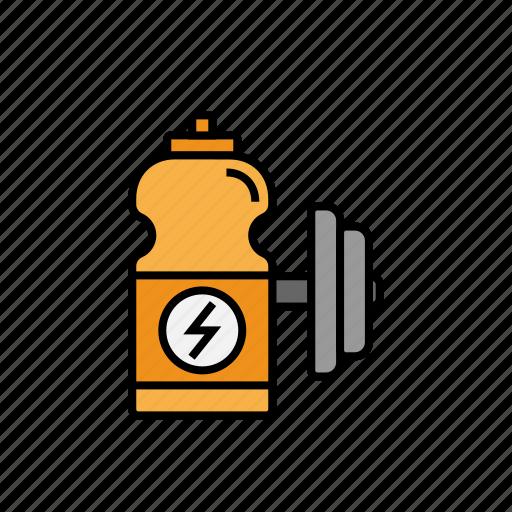 bottle, drink, dumbbell, energy, fitness, sport, water icon