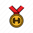 competition, fitness, lifting, medal, reward, weight, winner icon